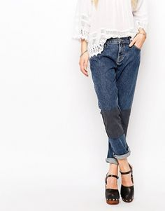 M.i.h Jeans Tomboy Boyfriend Jeans With Patchwork Knees