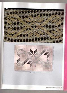 source Filet Crochet, Crochet Borders, Crochet Chart, Thread Crochet, Crochet Doilies, Crochet Stitches, Weaving Patterns, Mosaic Patterns, Cross Stitch Books