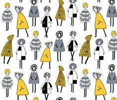 60s Winter Fashion fabric by oleynikka on Spoonflower - custom fabric