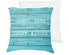 """beach pillow,18x18 or 22x22 cotton pillow """"Sandy toes and salty kisses"""", typography, quote, aqua home decor,throw pillow,cushion,turquoise"""