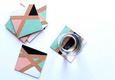 Cork board, paint and geometric lines are all you need to create these gorgeous color block coasters. | Difficulty: Beginner; Length: Medium; Tags: Decorations, Homewares