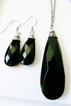 Black Crystal Glass Tear Drop Charm Silver Tone Necklace Dangling Earrings Set | eBay