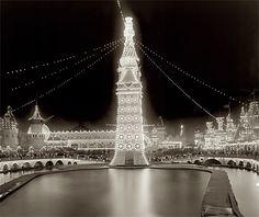 Luna Park at Night. Coney Island circa 1905.