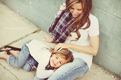 Or get low to the ground. | 31 Impossibly Sweet Mother-Daughter Photo Ideas