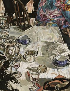 Still life with art deco #coffee set and 19th century #glasses. Detail of a picture with characters. 2005