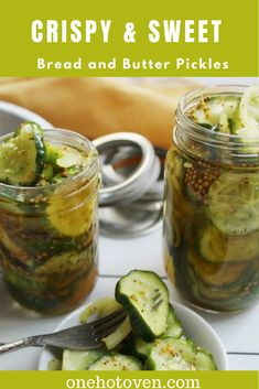 Freshly made pickles just can't be beaten.  These Crispy & Sweet Bread and Butter Pickles are a small batch recipe and so easy to make.  #onehotoven #pickles #summertimerecipes #canning
