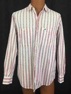 "Georges Marciano for Guess Button Front Striped Shirt in Men's size 3 or about a modern-day Large (please see measurements.) Armpit to armpit - 24.5"" across, 49"" doubled; total length - 31"" Unique fading on shirt that I think is intentional- see 12 photos because there definitely is lighter and darker shading in different parts of shirt. One pen mark on lower left side of shirt in front. Smoke free home. 