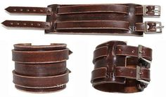 Genuine leather bracelet leather cuff first class leather wristband men's bracelet 2 straps worn brown