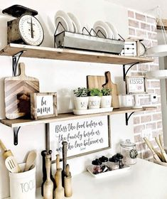 Old Farmhouse Wall Shelving For Good Organization - Best Farmhouse Decor Ideas: Beautiful, Modern and Classic Country Style Home Decorating Ideas and Country Farmhouse Decor, Farmhouse Interior, Farmhouse Kitchen Decor, Farmhouse Signs, Vintage Farmhouse, Rustic Decor, Kitchen Shelf Decor, Kitchen Shelves, Kitchen Ideas