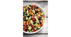 At under 300 calories, one serving of this summery salad offers almost 12 grams of fiber and 10 grams of protein, so after enjoying one crunchy bite after another, you'll feel full, satisfied, and energized.