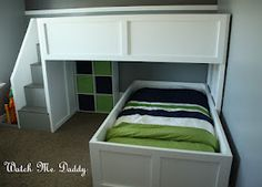 DIY Bunk beds with Stairs. This is what I think we are going to do if/when we let the boys share. Desmonds bed is already perfect for the bottom, so we will just need a top.