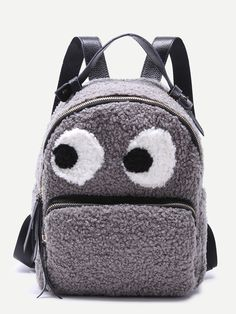 Buy Zooomberg Grey Little Monster Design Zip Front Tweed Backpack online Backpack Online, Backpack Bags, Leather Backpack, Fashion Backpack, Grey Backpacks, Kids Backpacks, Kawaii Bags, Little Monsters, Fashion Essentials