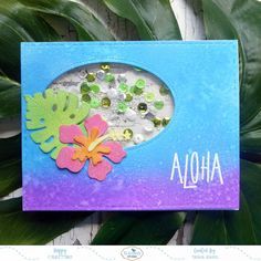 Aloha - Tropical Flower Shaker Card - I would like to show you how to create this tropical flower shaker card over on the Elizabeth Craft Designs Blog. https://littleartcottage.blogspot.com/2018/07/aloha-tropical-flower-shaker-card.html #elizabethcraftdesigns #ecd #icraftecraft #ecraftdesigns #distressoxideink #perfectpearls #embossing #sequins #shaker #patternedpaper #modascrap #handmade #cardmaking #stamps #stamping