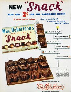 """New Cadbury's """"Snack"""" chocolate. Chocolate Brands, Chocolate Box, Retro Ads, Vintage Advertisements, Vintage Candy, Vintage Food, Vintage Stuff, Old School Candy, Thanks For The Memories"""