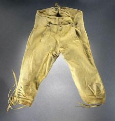 Boy's breeches, France, 1785-1800. Yellow buckskin with button front closure.