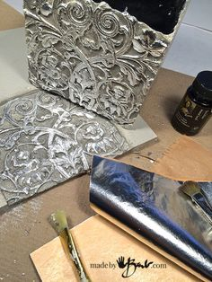 Make a texture panel from anything interesting. Use to cast into concrete molds to add interest and detail & further enjoy antique relics in modern concrete