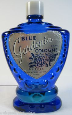Vintage Blue Gardenia 8 FL OZ Cologne Colbalt Blue Perfume Bottle 1/4 Full