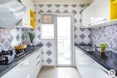 Kitchen Countertops: 6 Popular Types in Indian Homes Parallel Kitchen Design, Kitchen Tiles Design, Modern Kitchen Design, Interior Design Kitchen, Kitchen Designs, Interior Modern, Bathroom Designs, Home Decor Kitchen, Kitchen Furniture