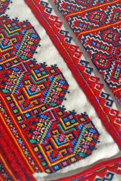 Detail of a man's traditional Ukrainian 'sorochka', or shirt, in the style of Horodenka raion villages of Serafyntsi, Yaseniv-Pil'nyi, Hlushkiv, Chernyatyn, Tyshkivtsi, Chortovets, Korniv, Balyntsi, and Kotykivka, from the ethnographic region of Pokuttya in Carpathian Western Ukraine (Hand embroidered by Dave Melnychuk)