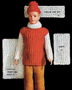 Vintage Knitting Pattern Ken Doll Size 12.5 Inches Hat Sweater Set Knitting…