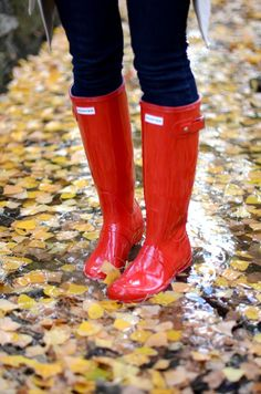 Red Rain Boots.