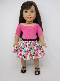 American Girl doll clothes -Pink flowered skirt & pink boat neck top by JazzyDollDuds.