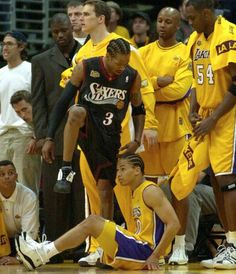 June 6, 2001 For only the 2nd time in NBA Finals history, 2 opposing players scored 40 or more points in the same NBA Finals game. Allen Iverson of the Philadelphia 76ers (48) & Shaquille O'Neal of the Los Angeles Lakers (44) each surpassed the 40-point mark in Game 1 of NBA Finals 2001, a 107-101 Philadelphia win in overtime #Sixers #76ers #alleniverson #theanswer #ai #Lakers #lakersnation #shaquilleoneal #shaqtinafool #nba #nbaplayoffs #nbaplayoffs2013…