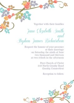 Coral, Teal Orange, Green and Brown Floral Border Free Wedding Invitation Template