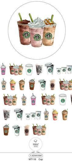 Starbucks Washi Tape Roll this listing is for one full washi roll 1.5cm x 10m