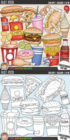 """Junk food clip art and line art bundle! """"Fast Food"""" includes 24 junk food clipart illustrations created from my original hand painted artwork! Each design comes supplied as a full colour png, as well as black and white outline versions (in png and jpeg formats). All images are 300 dpi for best quality printing."""