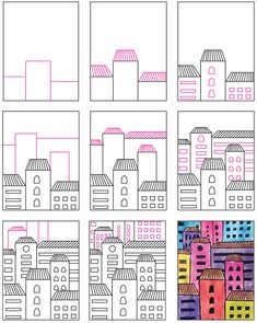 Learn how to draw easy buildings, and then keep stacking them until you fill an entire page. Angled roof lines will make them look dimensional. Art Drawings For Kids, Art Drawings Sketches Simple, Drawing For Kids, Easy Drawings, Cityscape Drawing, Cityscape Art, Art Lessons For Kids, Art For Kids, Building Art