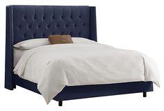 Alexander Wingback Bed, Velvet Navy on OneKingsLane.com.        Cal King $949.00