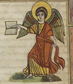 Angel with book and sash--Apocalypse figurée Source: gallica.bnf.fr Bibliothèque municipale de Valenciennes, Ms.99 (92), fol. 20r.