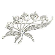 Silver Abstract Dandelion Flower Brooch Pin