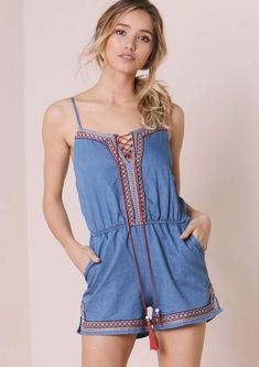 Missyempire Nami Light Blue Denim Embroided Trim Playsuit Denim Playsuit, Playsuits, Tween, Blue Denim, Light Blue, Rompers, Street Style, Outfits, Google Search