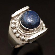 Bijoux Ethniques Indiens Bague en Argent Ovale Lapis-Lazuli Népal Newar 15
