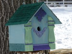 Birdhouse Handcrafted Whimsical painted by 3FeatheredFriends on Etsy