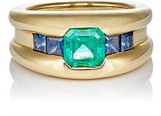 Sidney Garber Emerald & Sapphire Ring - Statement & Cocktail - Barneys.com