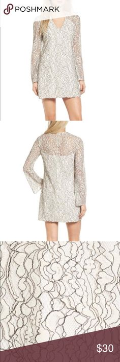 "WAYF Bell Sleeve Lace Dress Sz. M EUC WAYF bell sleeve lace dress in size medium.   Self: 50% cotton 35% nylon  15% polyester  Lining:  96% polyester 4% spandex  Chest: 36"" Length: 31.5"" Wayf Dresses Mini"