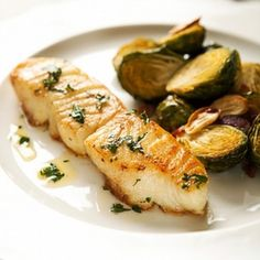 Pan-seared Sea Bass with Brussels Sprouts and bacon.