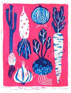 KNOW YOUR ROOTS FEAT. onion, scallion, carrot, turnip, daikon, and garlic Printspac, printmaking, collage lino, colour, food, veg, cooking, illustration
