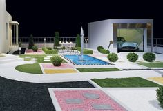 """Fantastic replica of Tati's Villa Arpel from """"Mon Oncle"""" as exhibited by the Centquatre Gallery in Paris in 2009."""