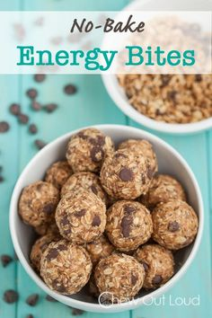 Healthy Snacks For Kids No-Bake Energy Bites (GF) - Healthy, easy, yummy! Awesome snack, breakfast, or pre/post workout fuel. Protein Snacks, Good Healthy Snacks, Healthy Treats, Healthy Eating, Yummy Snacks, Protein Bars, Keto Snacks, High Protein, Healthy Breakfast For Kids