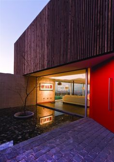 contemporary, big red door, glass all