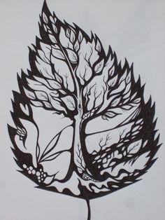 Amazing Leaf Tree Tattoo idea