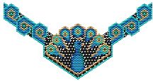 """LOVE ANYTHING PEACOCK♥♥♥ Deco Peacock (choker or Necklace) at Sova-Enterprises.com Full color pattern graph w/delica colors & amounts + Beadscape """"realistic"""" image. Bead the center panel and hang from a strung necklace or use the strap graph provided and bead as a choker. Which ever you choose you will be """"proud as a peacock"""" when you are finished. Project Type: Bead Stitch: Peyote/Brick Beads Used: Delicas Approx Finished Size: 2.80 x neck Designer: Charley Hughes AKA BeadyBoop"""