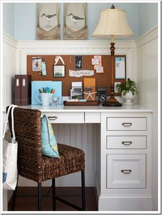 I love this little nook. It's an office, a homework station, or a spot to sit and get inspiration. Cute, efficient design and use of space.    bead board homework station