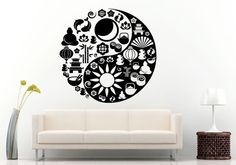 Yin Yang Symbol Mad Of Zen And Oriental Icons Namaste Buddha Pagoda Yoga Wall Decal Vinyl Sticker Mural Room Decor L669