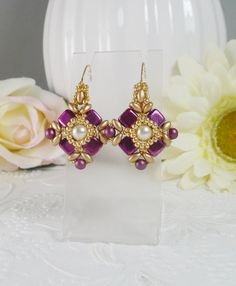 Woven Earrings in Fuchsia and Gold by IndulgedGirl on Etsy