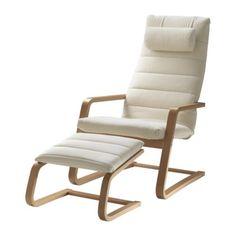 BOLIDEN Křeslo s podnožkou - buková barva/Genarp světle béžová - IKEA